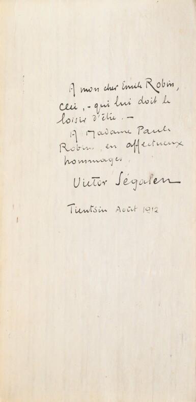 View 1. Thumbnail of Lot 97. SEGALEN, Victor. Stèles. 1912. Ais de bois. 1/82 ex., avec envoi à son ami médecin le docteur Emile Robin..