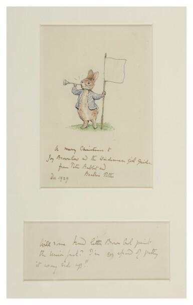 View 1. Thumbnail of Lot 241. Potter, Beatrix   A splendid iconic drawing of Peter Rabbit.