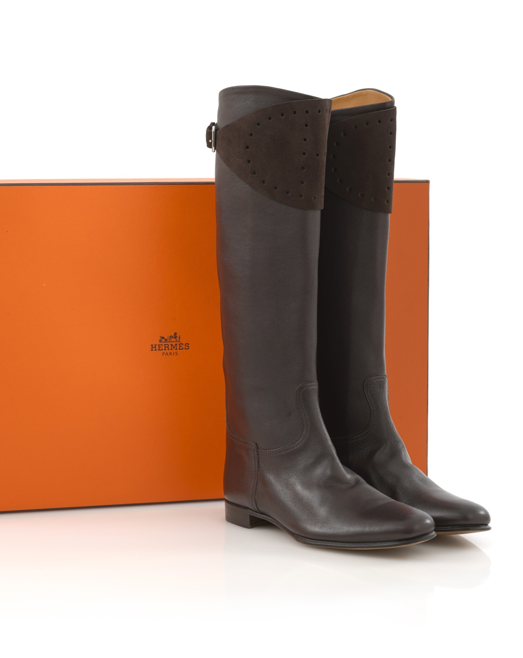 Brown leather and suede boots, Hermès