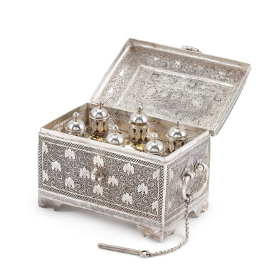 View 2. Thumbnail of Lot 61. A fine Indian silver perfume casket, unmarked, Kashmir, probably 19th century.