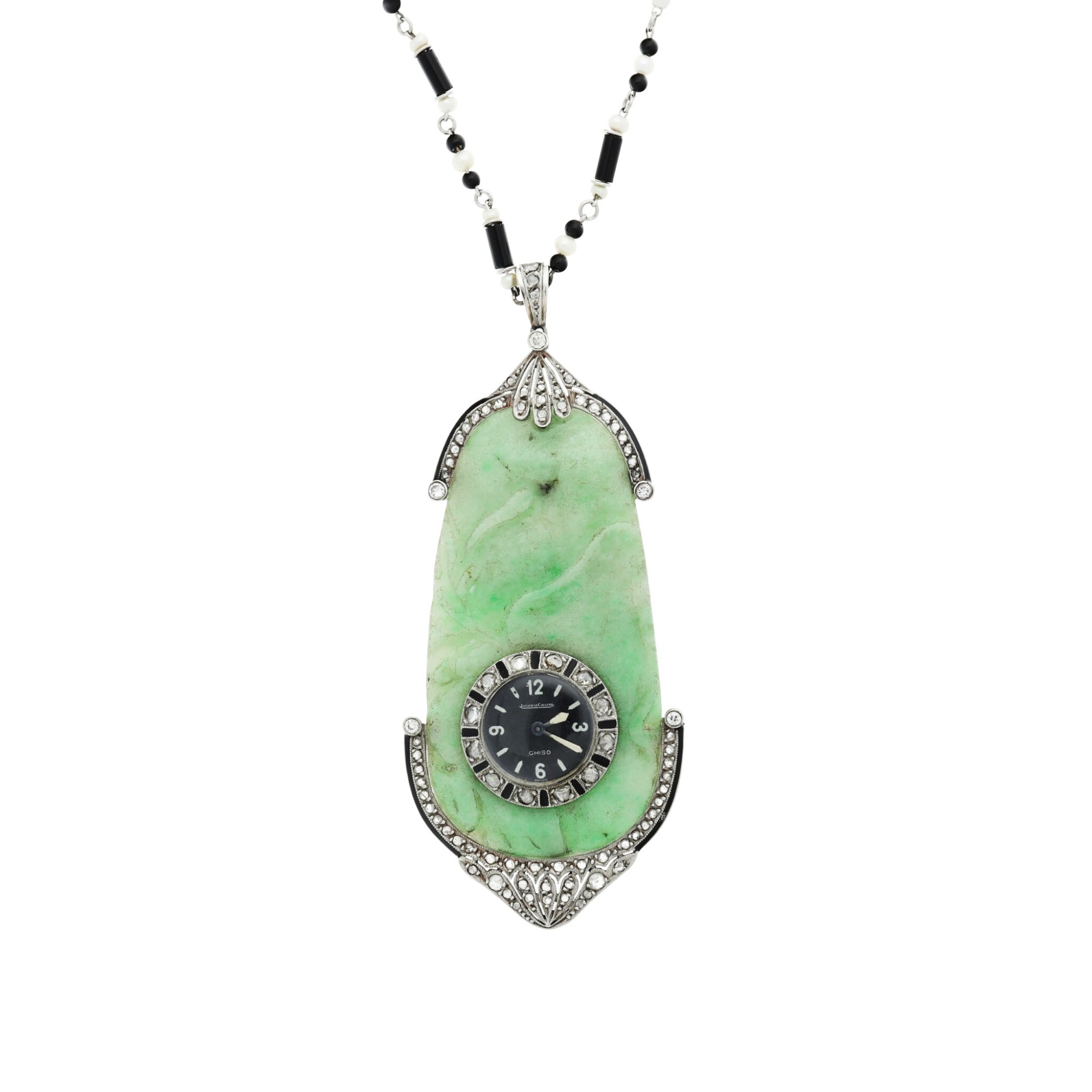 View full screen - View 1 of Lot 64. JAEGER-LECOULTRE |  RETAILED BY GHISO: A JADE, PLATINUM, DIAMOND, AND ENAMEL PENDANT WATCH, CIRCA 1925.
