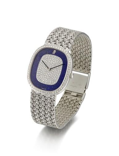 View 2. Thumbnail of Lot 8132. AUDEMARS PIGUET   REFERENCE 14653BC   A WHITE GOLD AND DIAMOND-SET BRACELET WATCH WITH LAPIS LAZULI DIAL, CIRCA 2000   愛彼   型號14653BC   白金鑲鑽石鏈帶腕錶,備青金石錶盤,約2000年製.