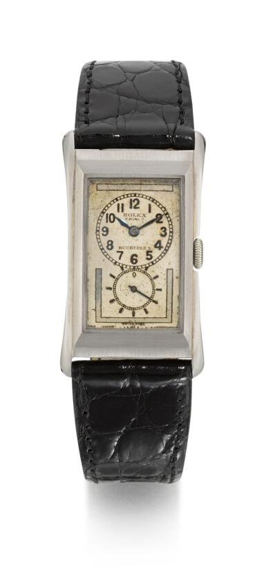 ROLEX | RETAILED BY BUCHERER, PRINCE, REFERENCE 1490  STAINLESS STEEL RECTANGULAR WRISTWATCH,  CIRCA 1937