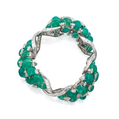 View 2. Thumbnail of Lot 60. David Webb | Emerald and Diamond Bracelet.