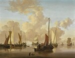 JAN VAN OS | Marine scene with vessels at anchor in calm waters