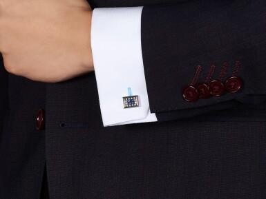 View 4. Thumbnail of Lot 1102. Pair of Sapphire and Diamond Cufflinks | 格拉夫| 藍寶石 配 鑽石 袖扣一對 (藍寶石及鑽石共重約1.50及1.40克拉).