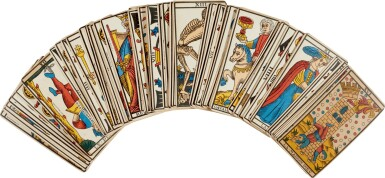 View 2. Thumbnail of Lot 22. Tarot de Marseille | Deck of cards owned by Sylvia Plath.
