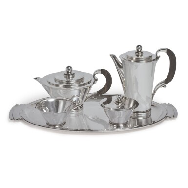 A FOUR-PIECE DANISH SILVER PYRAMID PATTERN TEA AND COFFEE SET, NO. 600B, WITH MATCHING TRAY, NO. 600V, GEORG JENSEN & WENDEL, COPENHAGEN, CIRCA 1945-51