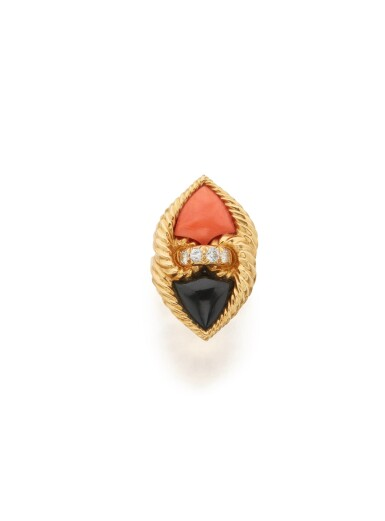 View 1. Thumbnail of Lot 22. CORAL, ONYX AND DIAMOND RING, VAN CLEEF & ARPELS, FRANCE.