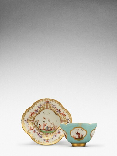 View 2. Thumbnail of Lot 105. A Meissen seladon-ground teabowl and a saucer, the tea bowl Circa 1735, the saucer later .
