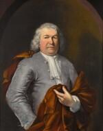CORNELIS TROOST | Portrait of a gentleman, half-length, wearing a grey satin waistcoat and a red cloak