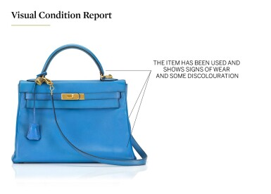 View 5. Thumbnail of Lot 16. KELLY 32 RETOURNE BLUE FRANCE COLOUR IN COURCHEVEL LEATHER WITH GOLD HARDWARE. HERMÈS, 1992 .