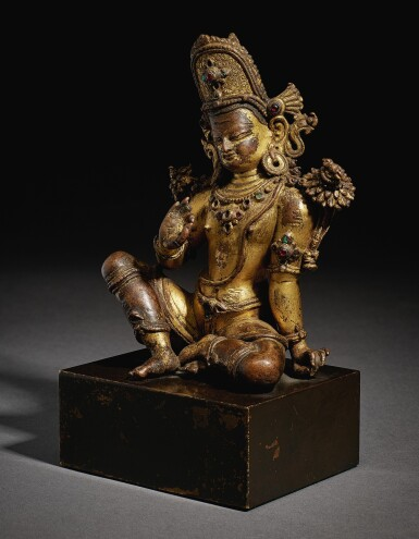 View 2. Thumbnail of Lot 321. A GILT COPPER FIGURE OF INDRA,  NEPAL, 15TH CENTURY.