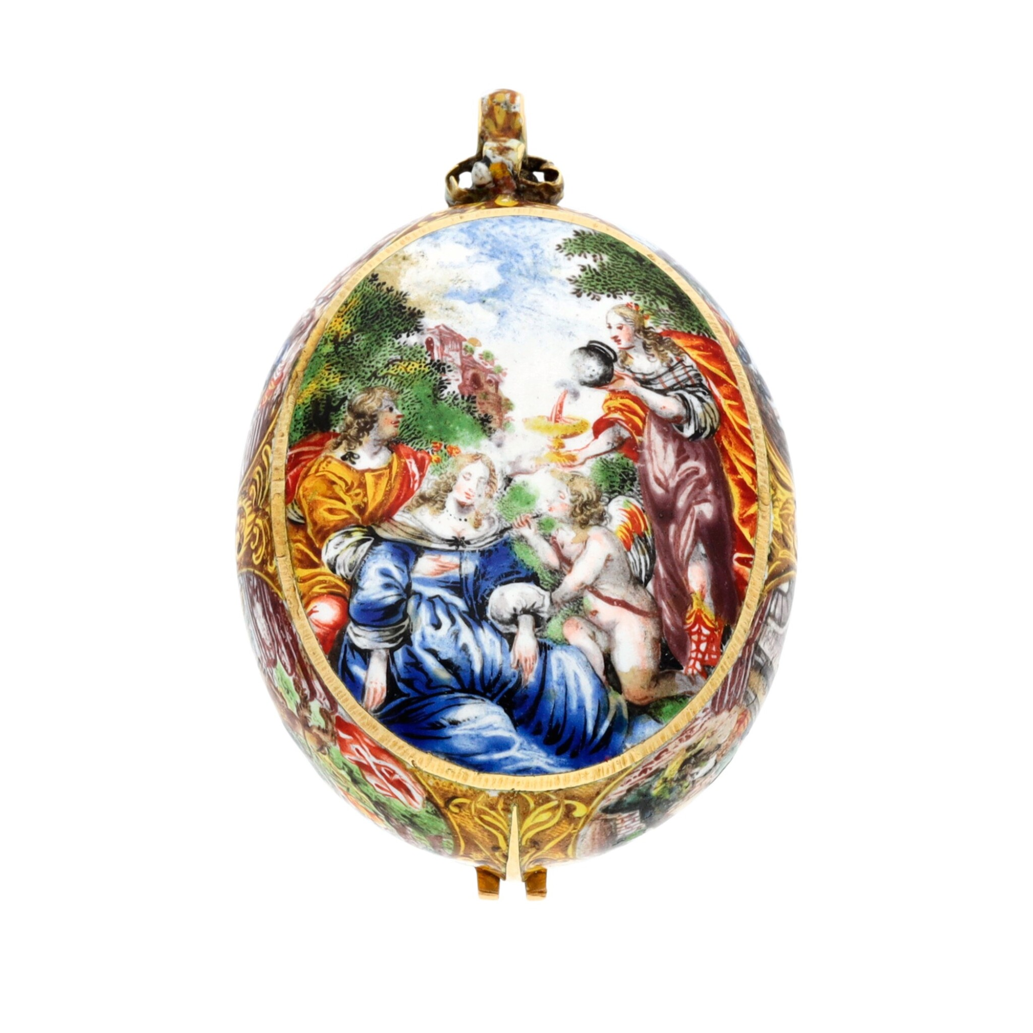 View full screen - View 1 of Lot 131. An oval gold and polychrome enamel painted watch case with later custom-made movement  Case circa 1665-1675, movement circa 1760.