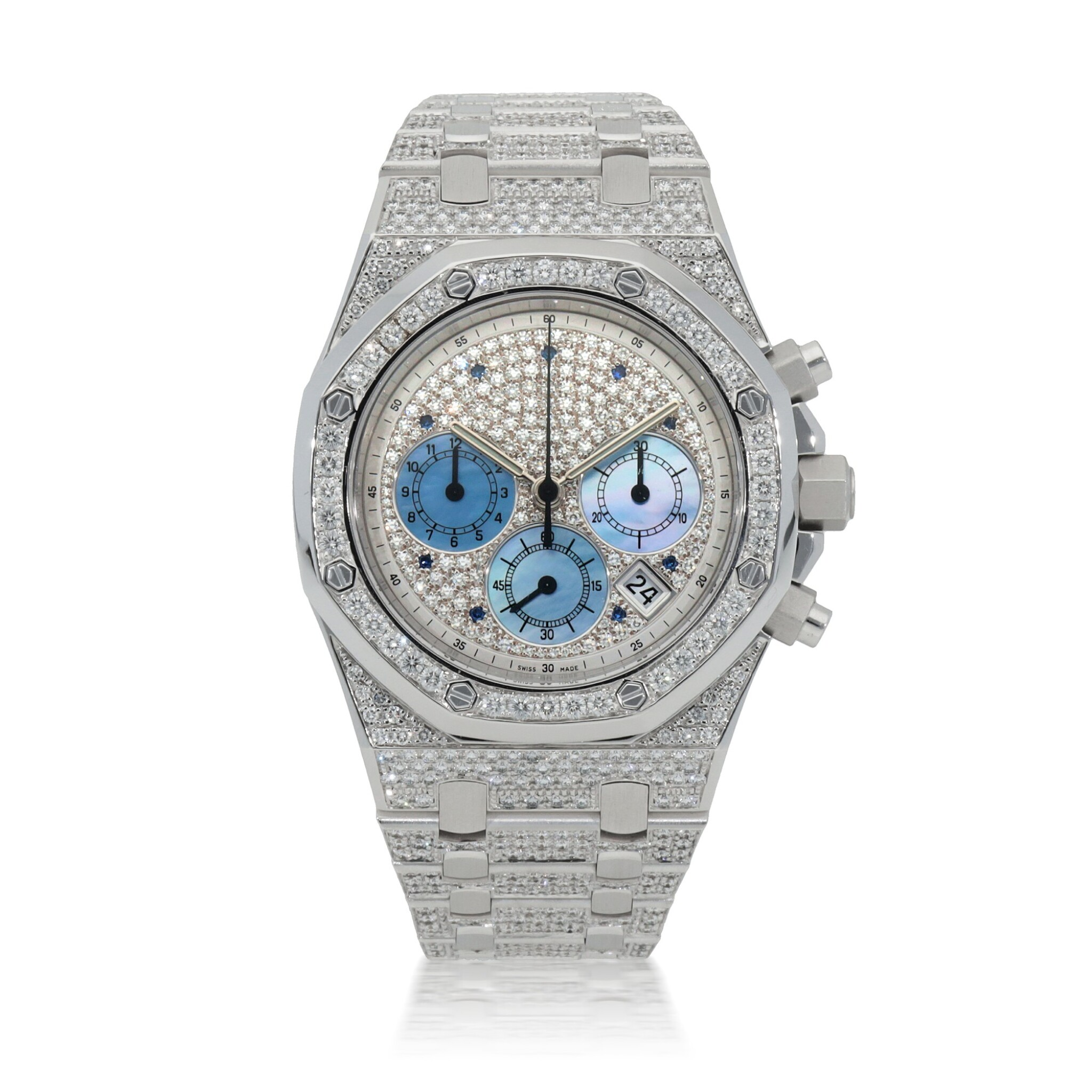 View full screen - View 1 of Lot 50. Royal Oak, Ref. 25967BC White gold, diamond and sapphire-set chronograph wristwatch with date, bracelet and mother of pearl subsidiary dials Made in 2003 | 愛彼25967BC型號「Royal Oak」白金鑲鑽石及藍寶石計時鍊帶腕錶,備日期顯示及珠母貝小錶盤,2003年製.
