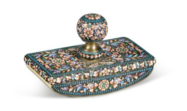 View 1. Thumbnail of Lot 234. A silver and cloisonné enamel blotter, Moscow, 1899-1914 .