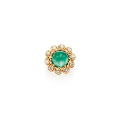 View 1. Thumbnail of Lot 74. EMERALD AND DIAMOND RING, VAN CLEEF & ARPELS.