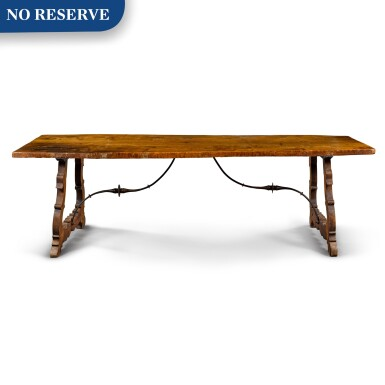 View 1. Thumbnail of Lot 11. A Spanish Baroque walnut trestle table, 17th century.