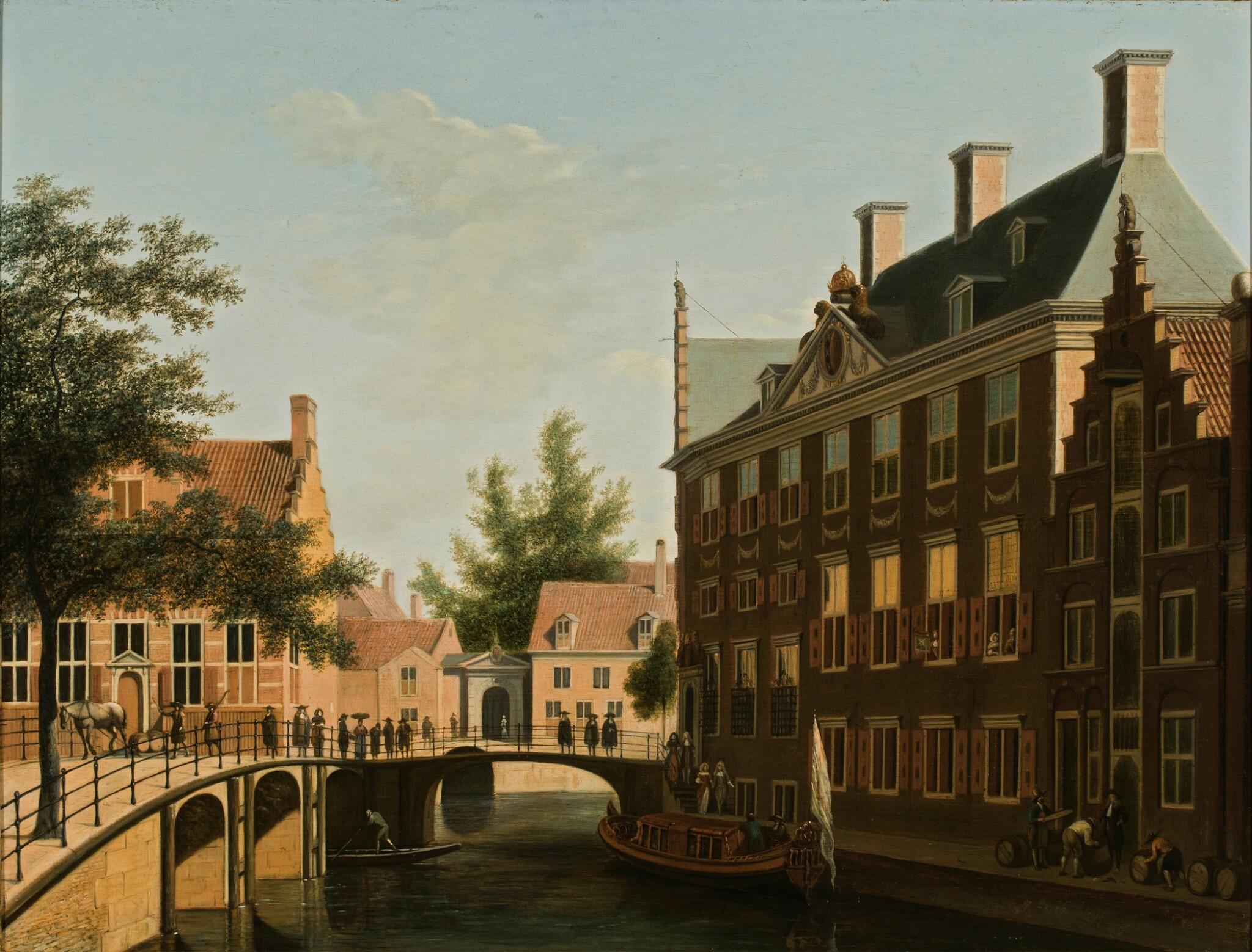View full screen - View 1 of Lot 36. The Oudezijds Heerenlogement, on the confluence of the Grimburgwal and the Oudezijds Voorburgwal, Amsterdam | 《烏德齊耶茲・希倫胡辛旅館,格林伯格瓦爾運河與奧德澤茲・沃爾伯格瓦運河交匯處,阿姆斯特丹》.