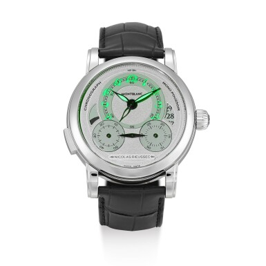 View 5. Thumbnail of Lot 186. MONTBLANC | HOMAGE TO NICOLAS RIUSSEC II, REFERENCE MBR 200, A LIMITED EDITION STAINLESS STEEL DUAL TIME ZONE SINGLE BUTTON CHRONOGRAPH WRISTWATCH WITH DATE AND DAY AND NIGHT INDICATION, CIRCA 2015.