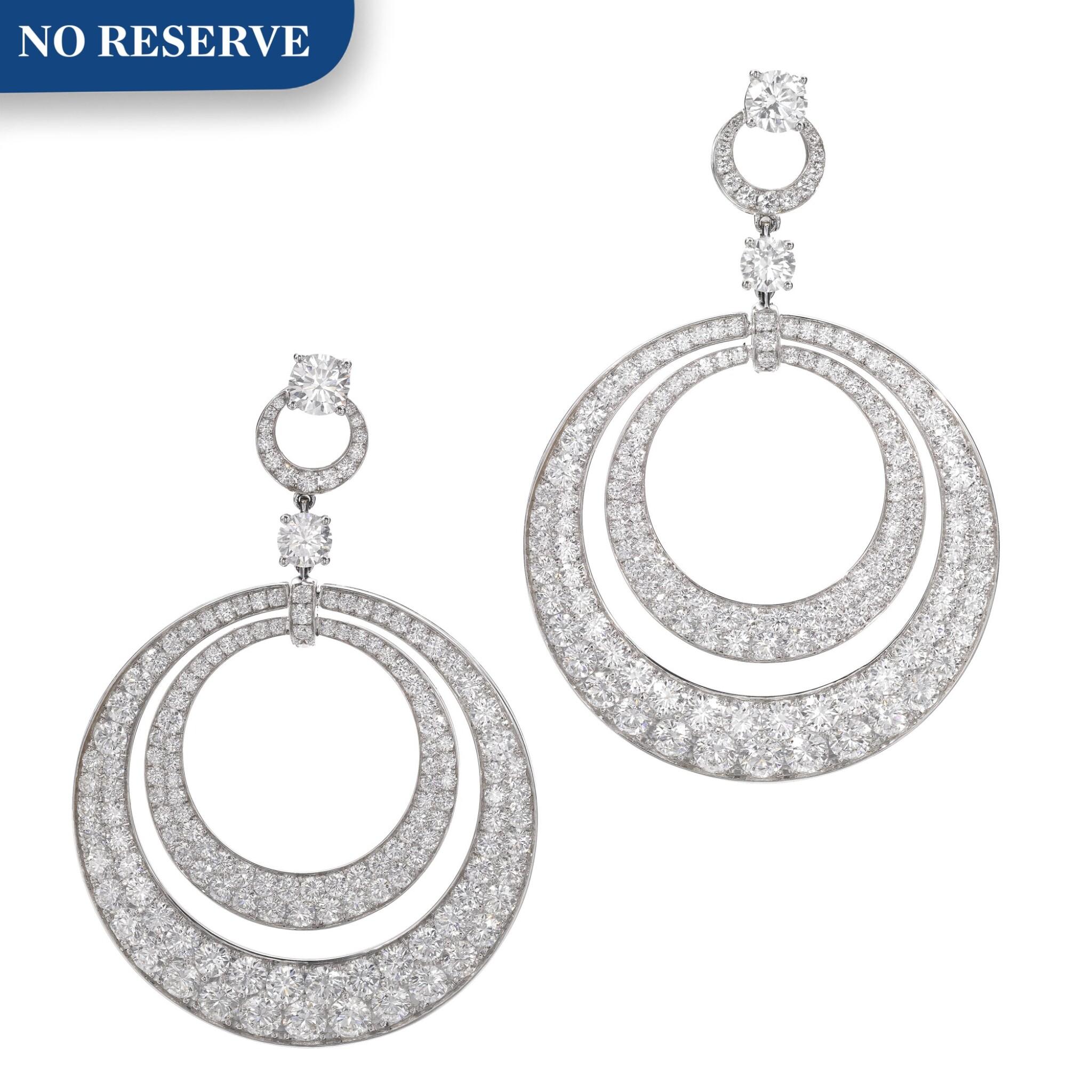 View full screen - View 1 of Lot 631. Graff | Pair of diamond pendent earrings | 格拉夫 | 鑽石耳墜一對.