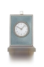 ENAMEL, AGATE, SAPPHIRE AND DIAMOND PETITE SONNERIE QUARTER REPEATING DESK CLOCK | CARTIER, EARLY 20TH CENTURY