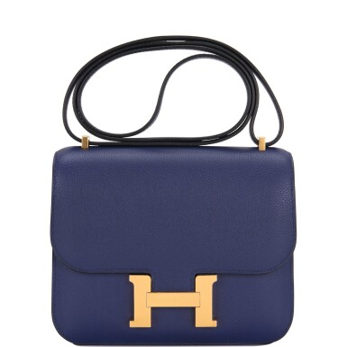 Hermès Constance 18cm of Bleu Encre Evercolor Leather with Gold Hardware