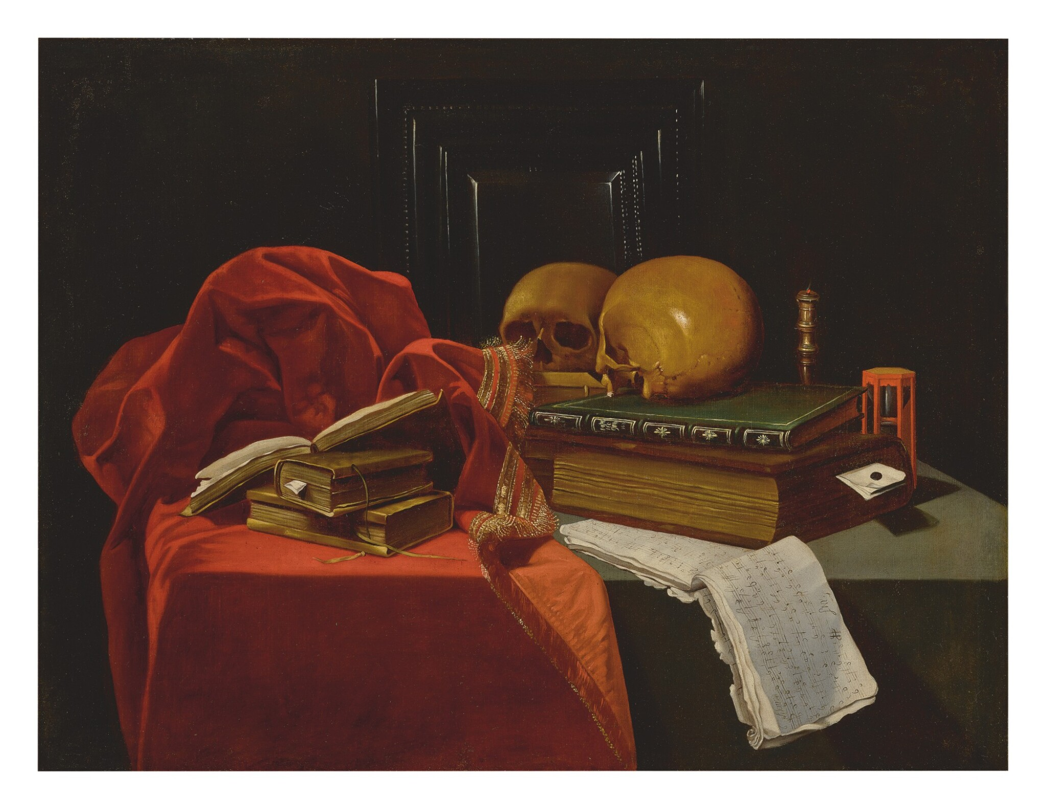 CIRCLE OF MADELEINE BOULLOGNE | VANITAS STILL LIFE WITH BOOKS, SKULLS, MUSIC, AN HOURGLASS, A FRAME, AND OTHER OBJECTS, ALL ON A TABLE