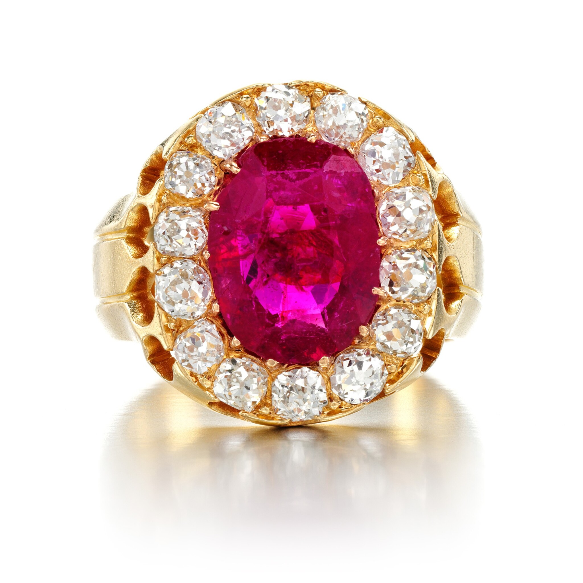 View full screen - View 1 of Lot 6. Ruby and diamond ring, late 19th century.