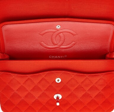 View 4. Thumbnail of Lot 150. RED JERSEY AND SILVER-TONE METAL CLASSIC SHOULDER BAG, CHANEL.