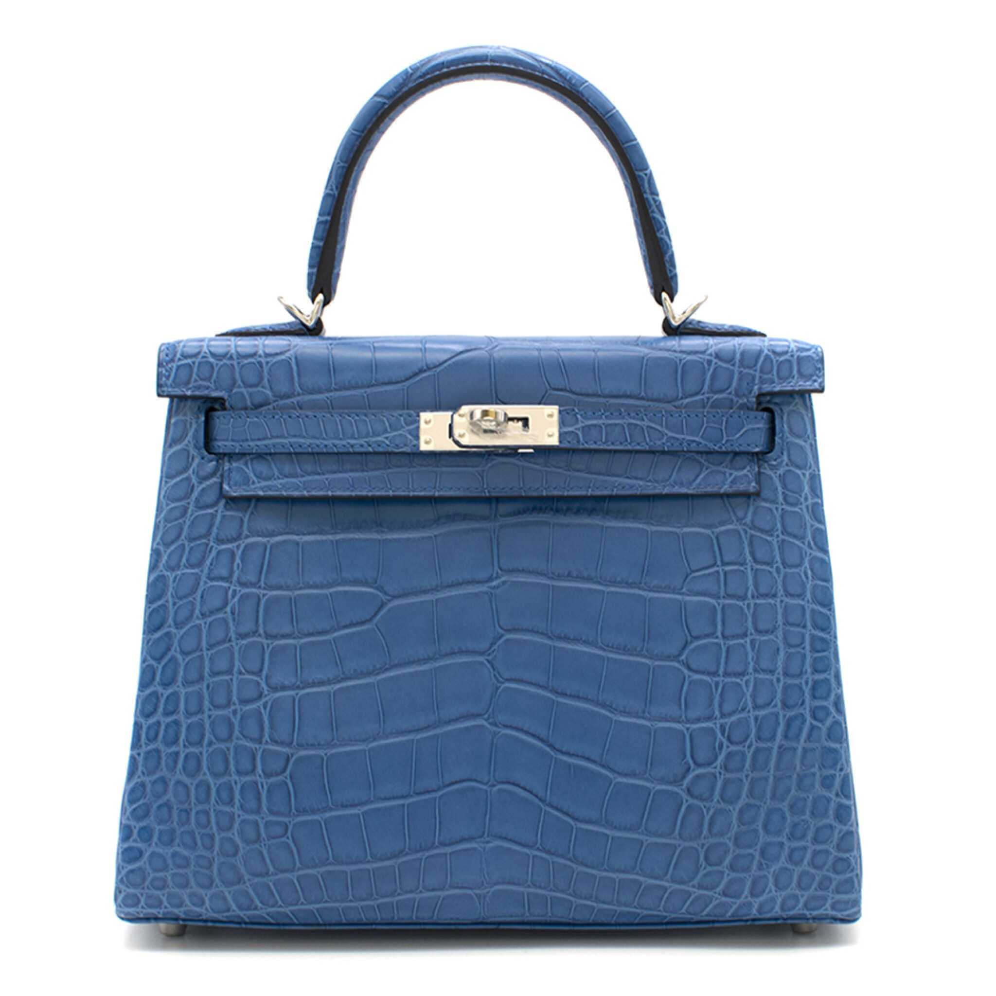 View full screen - View 1 of Lot 8. Kelly 25 Retourne  Blue Zellige Colour in Matte Alligator Mississippiensis  with palladium hardware. Hermès. 2018..