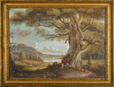 View 2. Thumbnail of Lot 601. PAUL SANDBY, R.A.   An extensive pastoral landscape with figures and a horse beneath a tree, a riverside town in the middle distance.