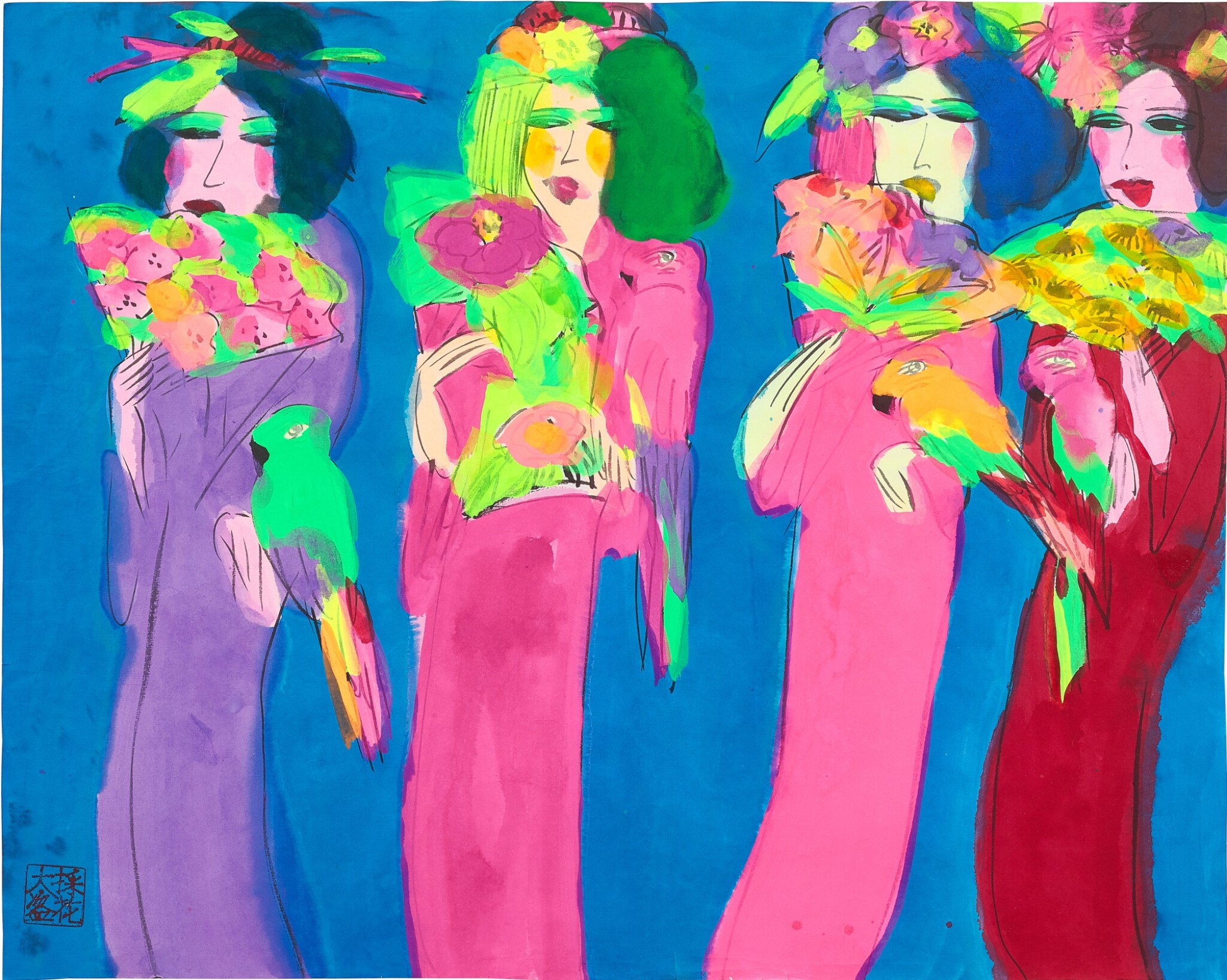 View full screen - View 1 of Lot 2034. Walasse Ting 丁雄泉 | Ladies with parrots 女人與鸚鵡.