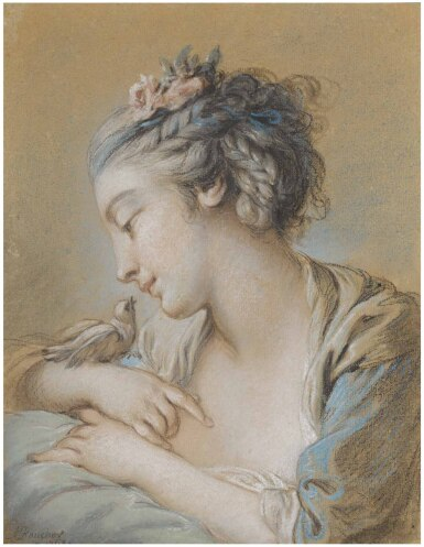 View 1. Thumbnail of Lot 20. FRANÇOIS BOUCHER | HEAD-AND-SHOULDERS STUDY OF A YOUNG WOMAN WITH A BIRD ON HER RIGHT WRIST.