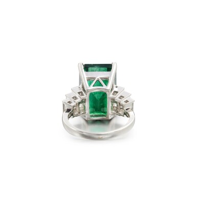 View 3. Thumbnail of Lot 64. EMERALD AND DIAMOND RING.