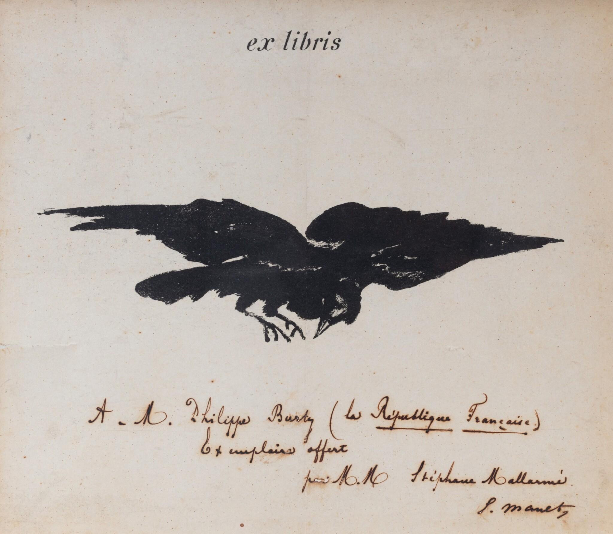View full screen - View 1 of Lot 121. Ex-libris lithographié pour Le Corbeau [1875]. Avec envoi à Philippe Burty de Mallarmé et Manet.