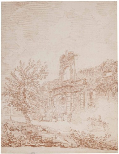 View 1. Thumbnail of Lot 4. HUBERT ROBERT | VIGNOLA'S GATE TO THE FARNESE GARDENS, ROME, WITH A COACH AND HORSES.