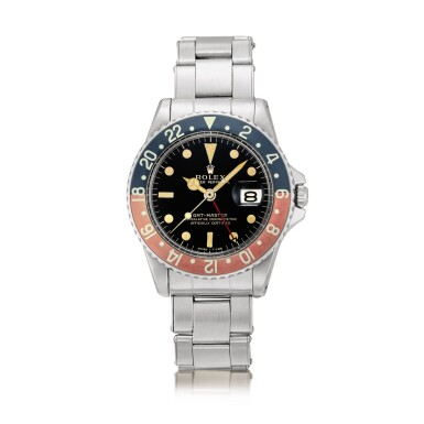 View 1. Thumbnail of Lot 2130. Rolex | GMT-Master, Reference 1675, A stainless steel dual time zone wristwatch with gilt dial, pointed crown guards, date and bracelet, Circa 1965 | 勞力士 | GMT-Master 型號1675    精鋼兩地時間鏈帶腕錶,備漆製錶盤、尖形錶冠護橋及日期顯示,約1965年製.