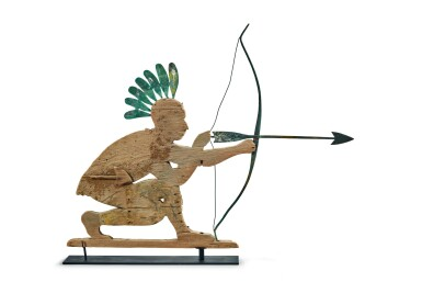 View 2. Thumbnail of Lot 1469. RARE AMERICAN CARVED PINE AND MOLDED SHEET-COPPER NATIVE AMERICAN ARCHER WEATHERVANE, EARLY 20TH CENTURY.