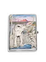 A silver and enamel cigarette case, 15th Artel, Moscow, 1908-1917