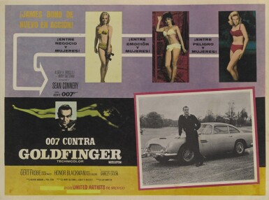 View 1. Thumbnail of Lot 44. GOLDFINGER / 007 CONTRA GOLDFINGER (1964) LOBBY CARD,  MEXICAN, 1970s RE-RELEASE.