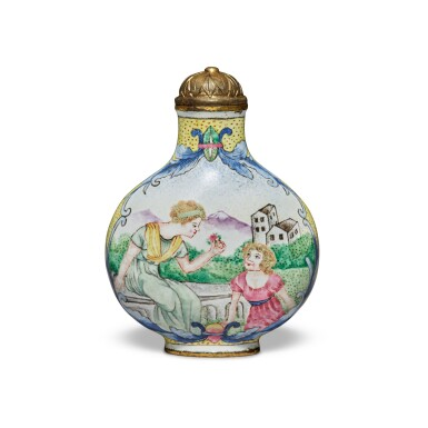 View 2. Thumbnail of Lot 67. A painted enamel 'European subject' snuff bottle, Mark and period of Qianlong   清乾隆 銅胎畫琺瑯西洋人物圖鼻煙壺 《乾隆年製》款.