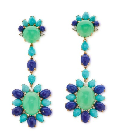 View 1. Thumbnail of Lot 14. Pair of 18 karat Gold, Turquoise, Lapis Lazuli, Chrysoprase and Diamond Pendant-Earclips.