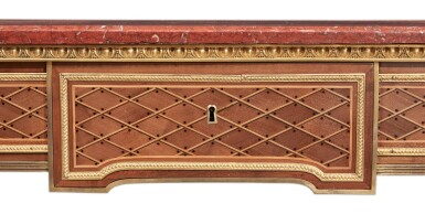 View 5. Thumbnail of Lot 94. A Louis XVI Gilt Bronze-Mounted and Brass-Inlaid Sycamore and Parquetry Console Desserte, Circa 1785.