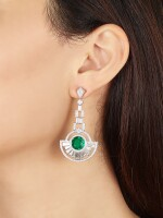 MARTIN KATZ | PAIR OF EMERALD AND DIAMOND EARRINGS | 2.48及2.33卡拉 天然「哥倫比亞」無油祖母綠 配 鑽石 吊耳環一對