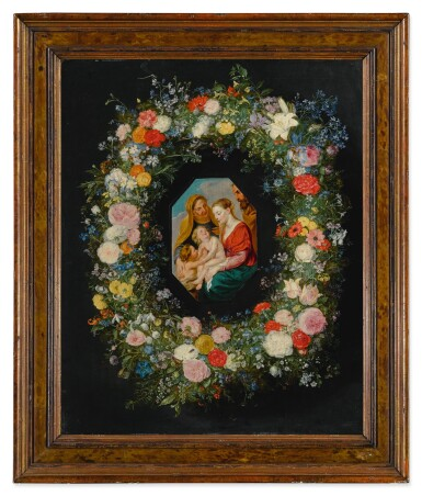 View 2. Thumbnail of Lot 595. Holy Family within a floral garland.