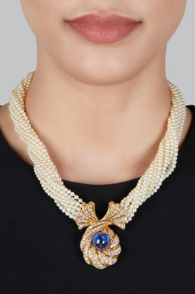 View 2. Thumbnail of Lot 151. Harry Winston | Seed Pearl, Sapphire and Diamond Necklace.