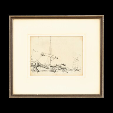 View 1. Thumbnail of Lot 202. George Chinnery (1774-1852), 1829 Chinese Junks at Anchor | 錢納利(1774-1852年)1829年   素描中國帆船   紙本鉛筆、鋼筆及墨水 鏡框.