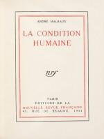 MALRAUX. La condition humaine. 1933. Rel. Bonet. Edition originale. 1/39 réimposés. Envoi a.s. à Louis de Sadeleer