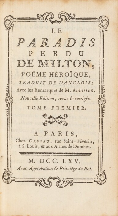 View 2. Thumbnail of Lot 82. Le Paradis perdu. Paris, 1765. 4 vol in-12. Maroquin rouge, aux armes de la comtesse de Provence..